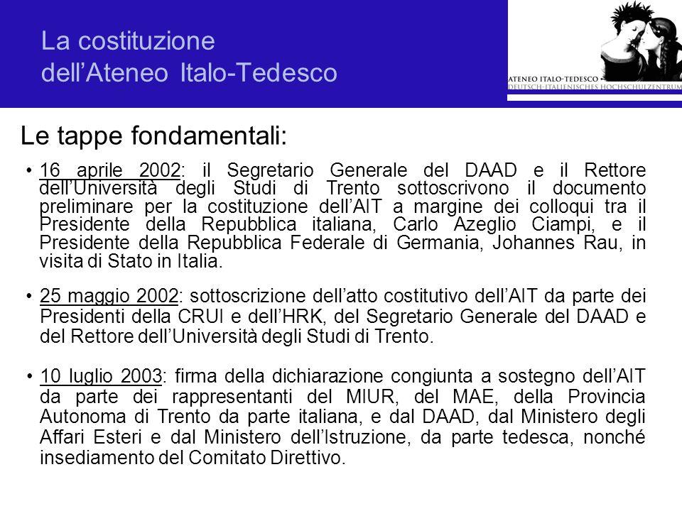 La costituzione dellAteneo Italo-Tedesco Le tappe fondamentali: 16 aprile 2002: il Segretario Generale del DAAD e il Rettore dellUniversità degli Stud