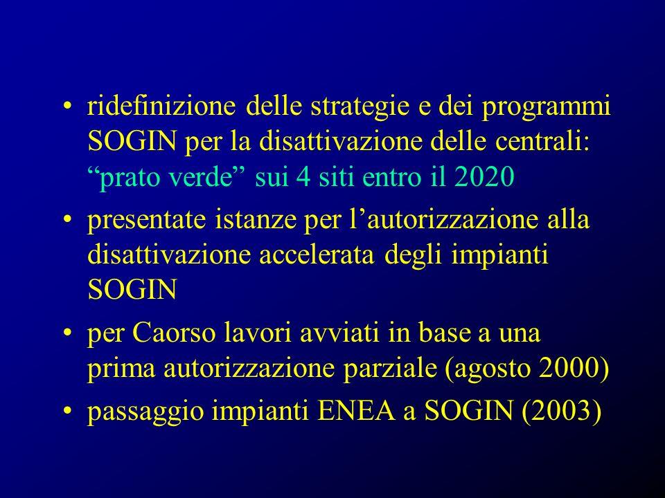 ridefinizione delle strategie e dei programmi SOGIN per la disattivazione delle centrali: prato verde sui 4 siti entro il 2020 presentate istanze per