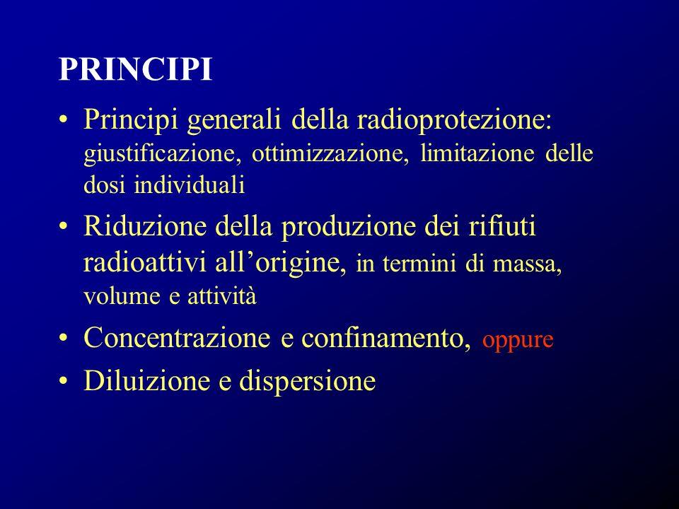 PRINCIPI Principi generali della radioprotezione: giustificazione, ottimizzazione, limitazione delle dosi individuali Riduzione della produzione dei r