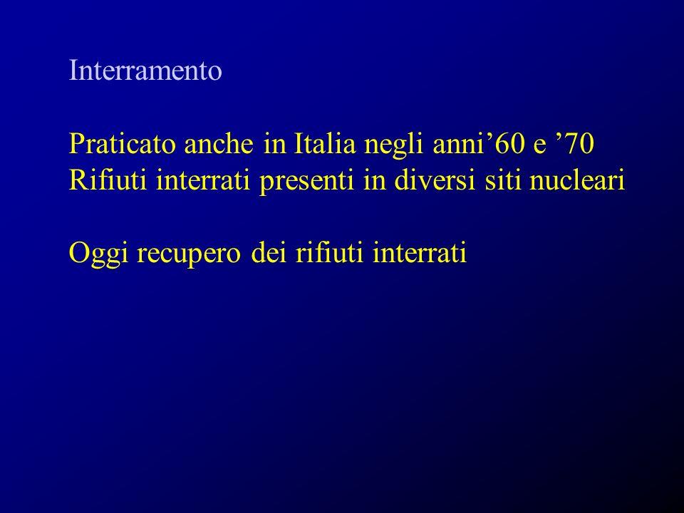 Interramento Praticato anche in Italia negli anni60 e 70 Rifiuti interrati presenti in diversi siti nucleari Oggi recupero dei rifiuti interrati