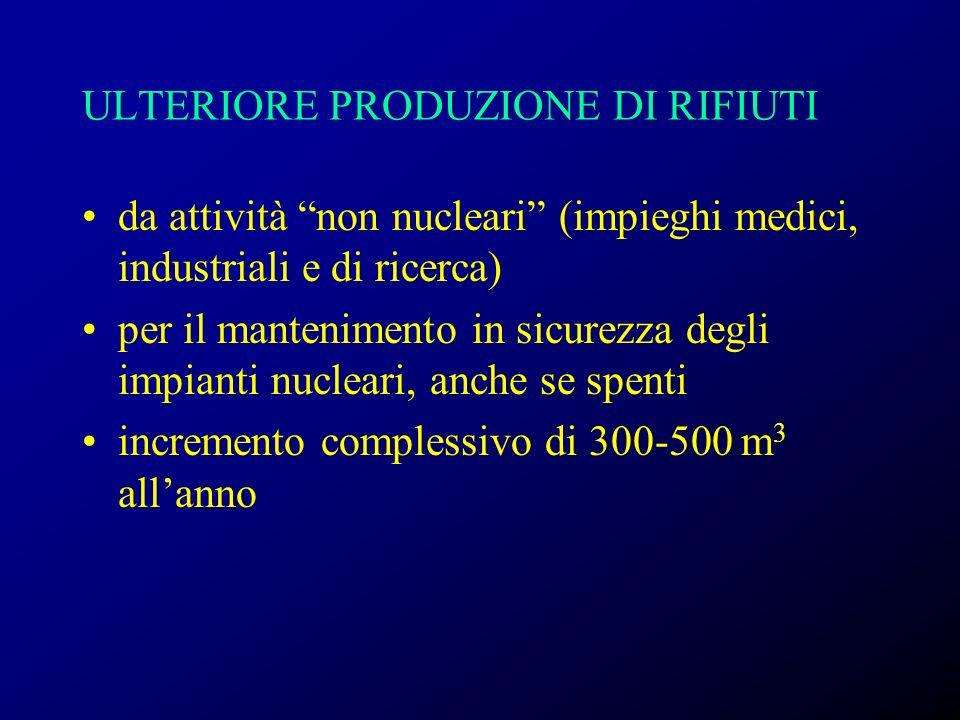 ULTERIORE PRODUZIONE DI RIFIUTI da attività non nucleari (impieghi medici, industriali e di ricerca) per il mantenimento in sicurezza degli impianti n