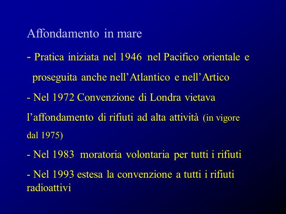 Affondamento in mare - Pratica iniziata nel 1946 nel Pacifico orientale e proseguita anche nellAtlantico e nellArtico - Nel 1972 Convenzione di Londra vietava laffondamento di rifiuti ad alta attività (in vigore dal 1975) - Nel 1983 moratoria volontaria per tutti i rifiuti - Nel 1993 estesa la convenzione a tutti i rifiuti radioattivi