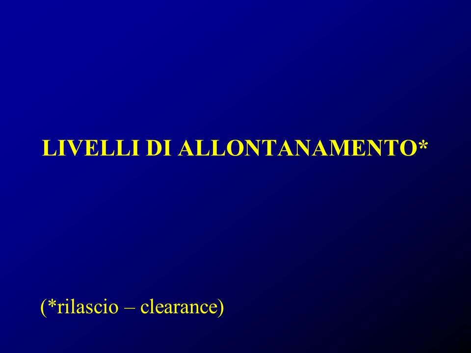 LIVELLI DI ALLONTANAMENTO* (*rilascio – clearance)