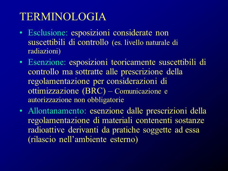 TERMINOLOGIA Esclusione: esposizioni considerate non suscettibili di controllo (es. livello naturale di radiazioni) Esenzione: esposizioni teoricament