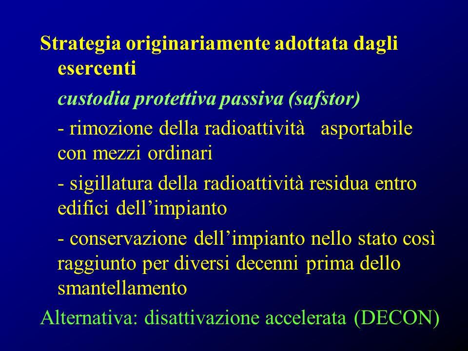 Strategia originariamente adottata dagli esercenti custodia protettiva passiva (safstor) - rimozione della radioattività asportabile con mezzi ordinar