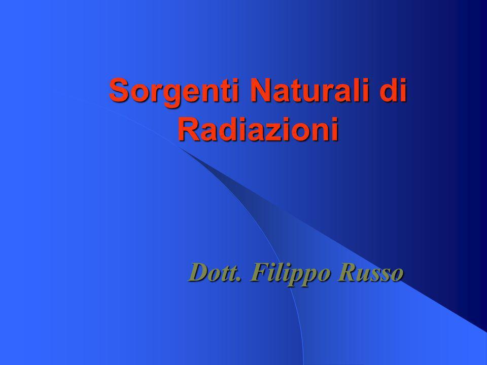 Sorgenti Naturali di Radiazioni Dott. Filippo Russo