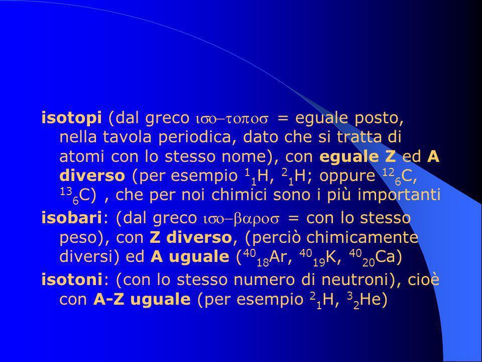 isotopi (dal greco = eguale posto, nella tavola periodica, dato che si tratta di atomi con lo stesso nome), con eguale Z ed A diverso (per esempio 1 1