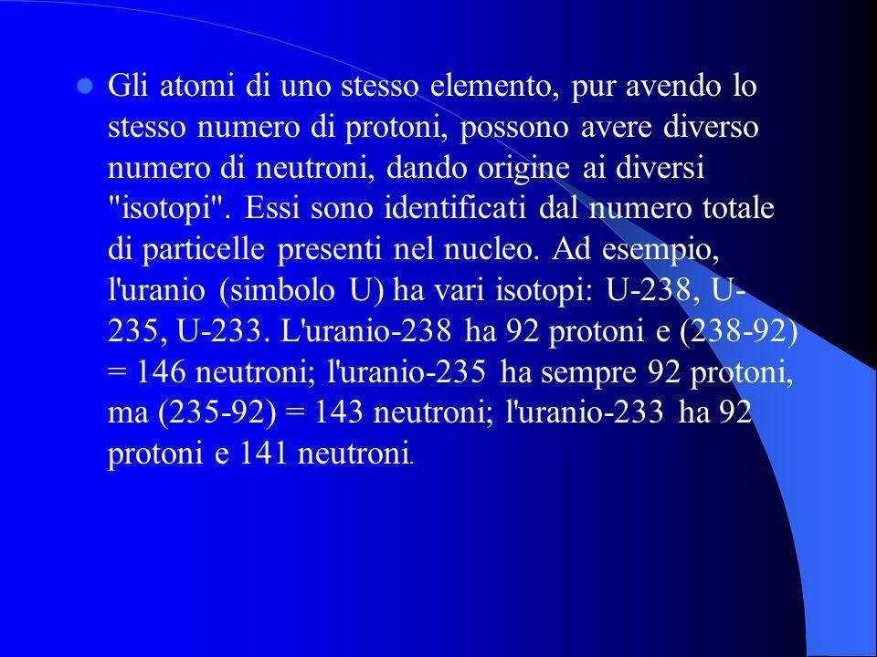 Gli atomi di uno stesso elemento, pur avendo lo stesso numero di protoni, possono avere diverso numero di neutroni, dando origine ai diversi