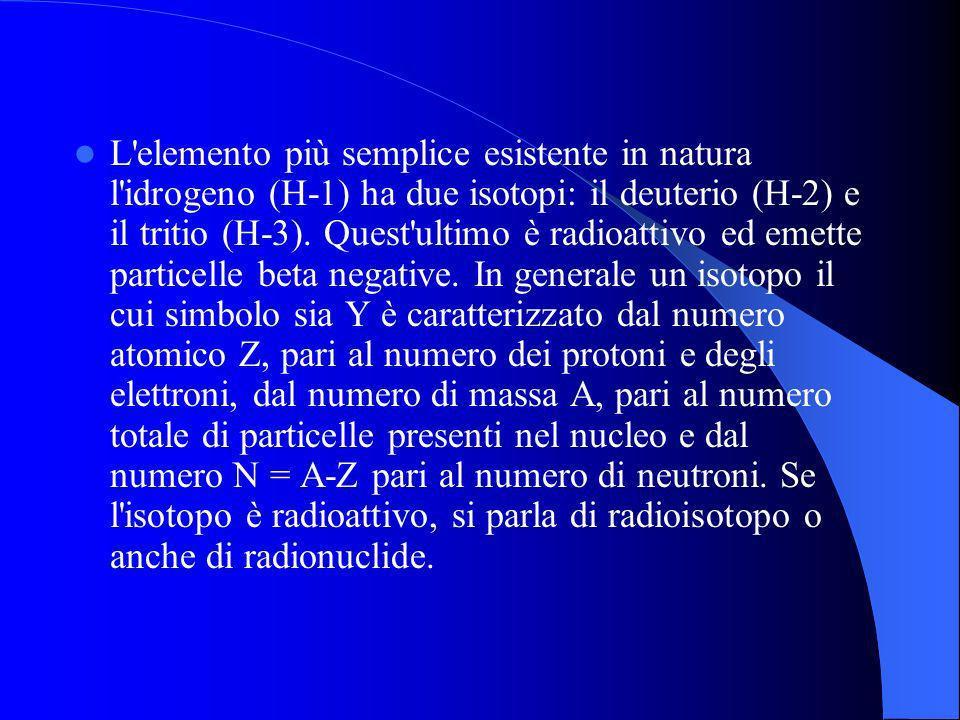 L'elemento più semplice esistente in natura l'idrogeno (H-1) ha due isotopi: il deuterio (H-2) e il tritio (H-3). Quest'ultimo è radioattivo ed emette