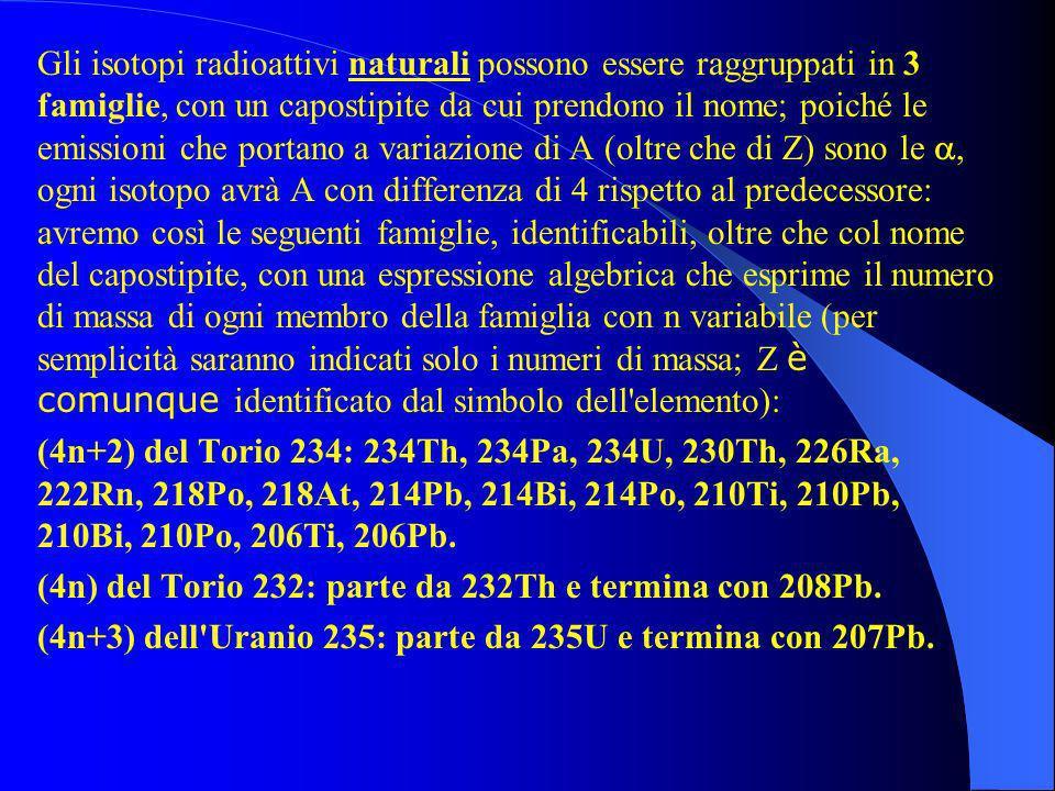 Gli isotopi radioattivi naturali possono essere raggruppati in 3 famiglie, con un capostipite da cui prendono il nome; poiché le emissioni che portano