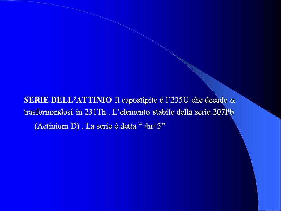 SERIE DELLATTINIO Il capostipite è l235U che decade trasformandosi in 231Th. Lelemento stabile della serie 207Pb (Actinium D). La serie è detta 4n+3