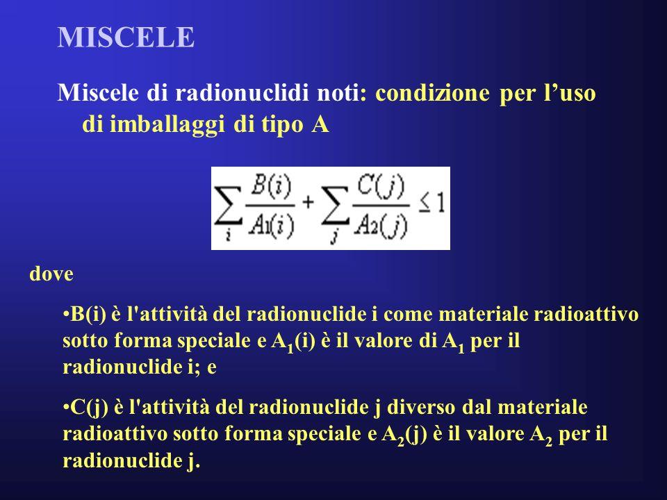 MISCELE Miscele di radionuclidi noti: condizione per luso di imballaggi di tipo A dove B(i) è l attività del radionuclide i come materiale radioattivo sotto forma speciale e A 1 (i) è il valore di A 1 per il radionuclide i; e C(j) è l attività del radionuclide j diverso dal materiale radioattivo sotto forma speciale e A 2 (j) è il valore A 2 per il radionuclide j.