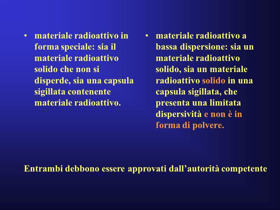 materiale radioattivo in forma speciale: sia il materiale radioattivo solido che non si disperde, sia una capsula sigillata contenente materiale radioattivo.