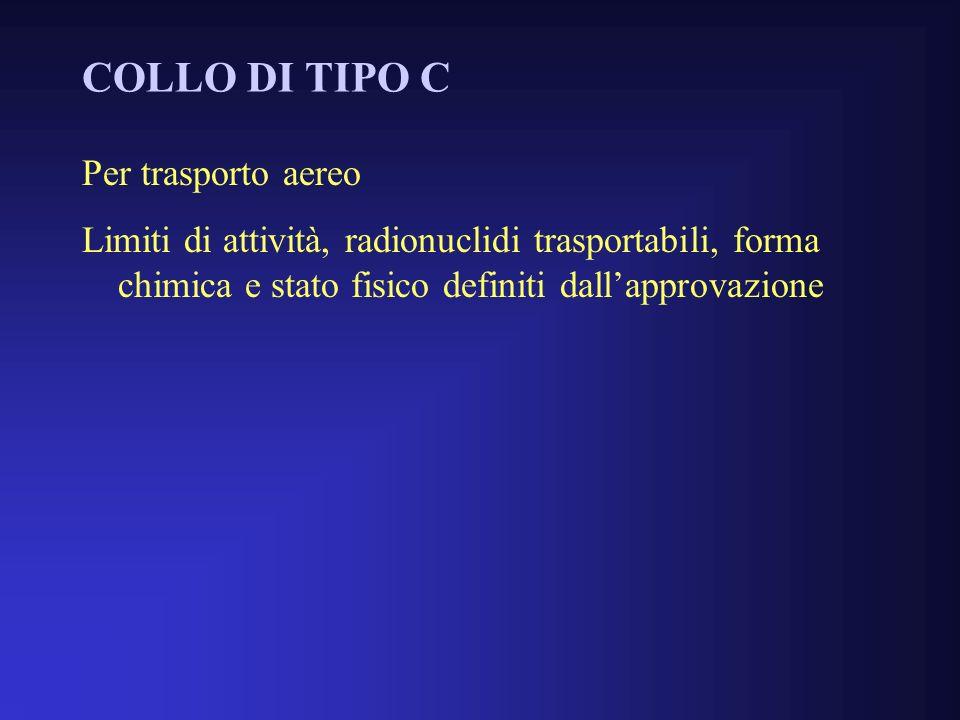 COLLO DI TIPO C Per trasporto aereo Limiti di attività, radionuclidi trasportabili, forma chimica e stato fisico definiti dallapprovazione