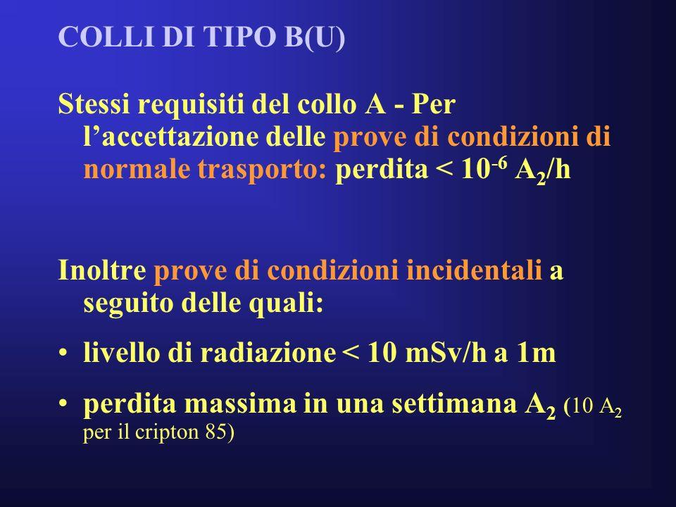 COLLI DI TIPO B(U) Stessi requisiti del collo A - Per laccettazione delle prove di condizioni di normale trasporto: perdita < 10 -6 A 2 /h Inoltre prove di condizioni incidentali a seguito delle quali: livello di radiazione < 10 mSv/h a 1m perdita massima in una settimana A 2 (10 A 2 per il cripton 85)