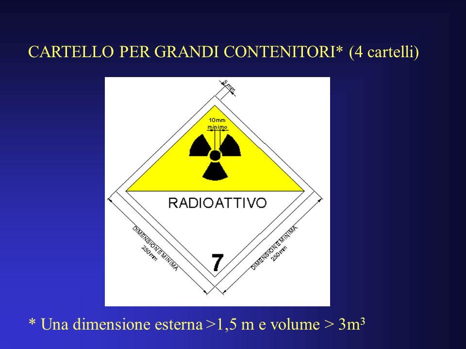 CARTELLO PER GRANDI CONTENITORI* (4 cartelli) * Una dimensione esterna >1,5 m e volume > 3m 3