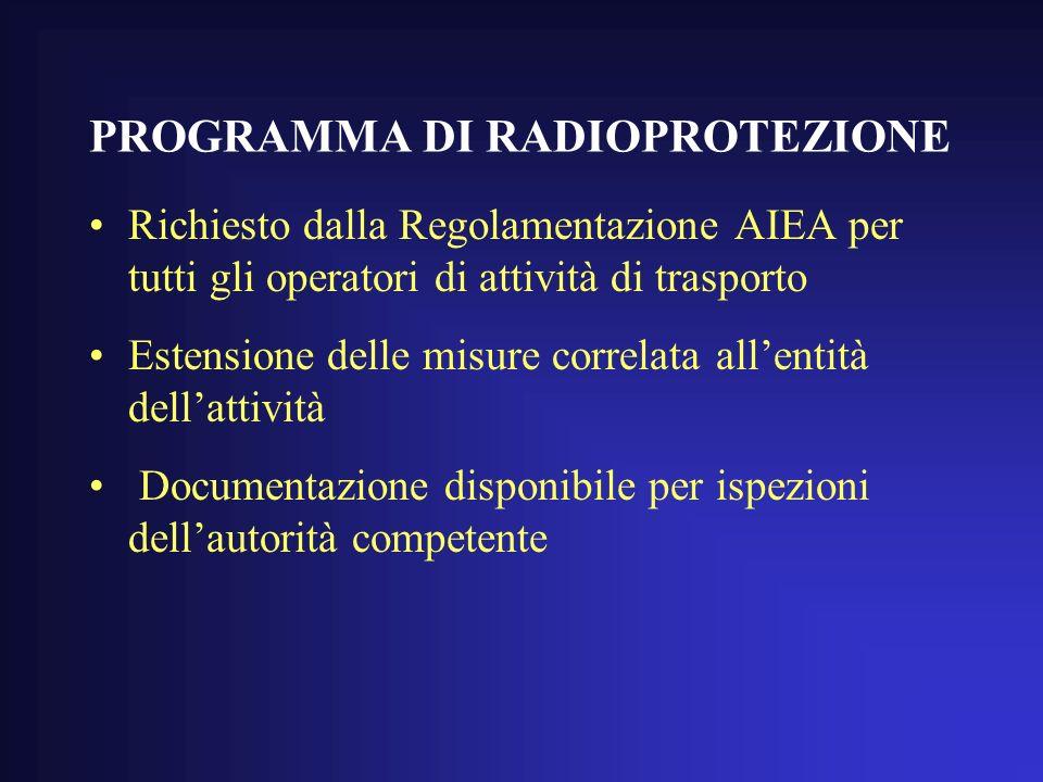 PROGRAMMA DI RADIOPROTEZIONE Richiesto dalla Regolamentazione AIEA per tutti gli operatori di attività di trasporto Estensione delle misure correlata allentità dellattività Documentazione disponibile per ispezioni dellautorità competente