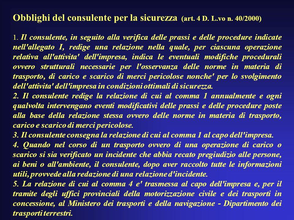 Obblighi del consulente per la sicurezza (art.4 D.
