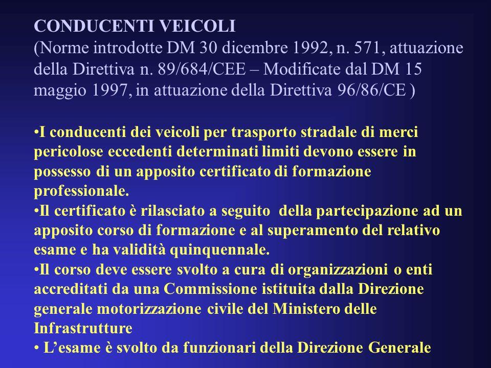 CONDUCENTI VEICOLI (Norme introdotte DM 30 dicembre 1992, n.