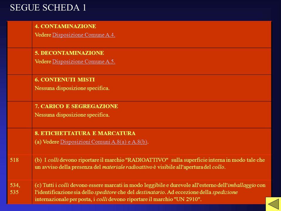 SEGUE SCHEDA 1 4.CONTAMINAZIONE Vedere Disposizione Comune A.4.Disposizione Comune A.4.