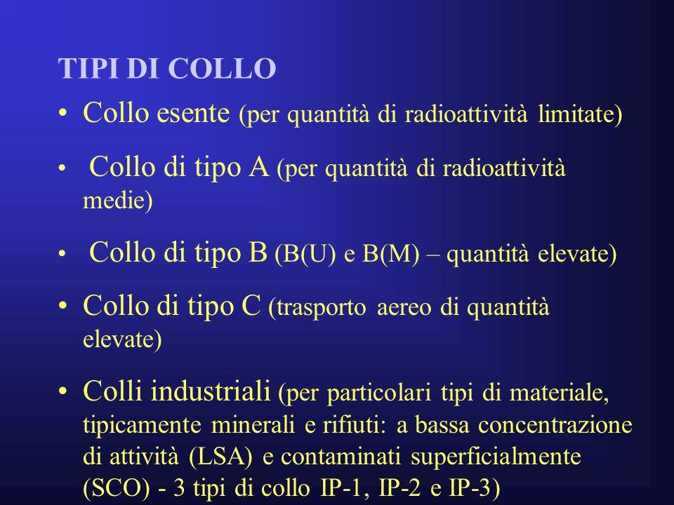 TIPI DI COLLO Collo esente (per quantità di radioattività limitate) Collo di tipo A (per quantità di radioattività medie) Collo di tipo B (B(U) e B(M) – quantità elevate) Collo di tipo C (trasporto aereo di quantità elevate) Colli industriali (per particolari tipi di materiale, tipicamente minerali e rifiuti: a bassa concentrazione di attività (LSA) e contaminati superficialmente (SCO) - 3 tipi di collo IP-1, IP-2 e IP-3)