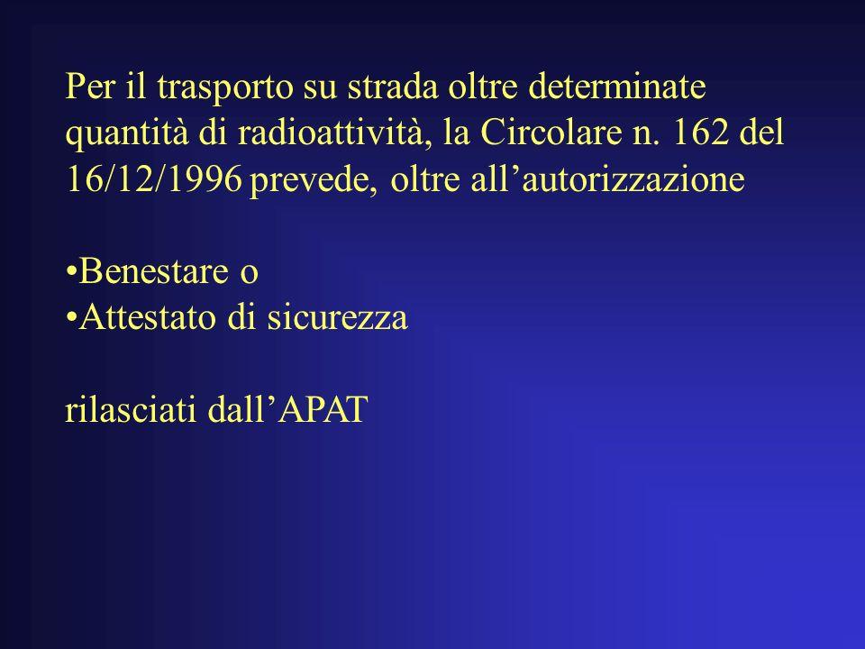 Per il trasporto su strada oltre determinate quantità di radioattività, la Circolare n.