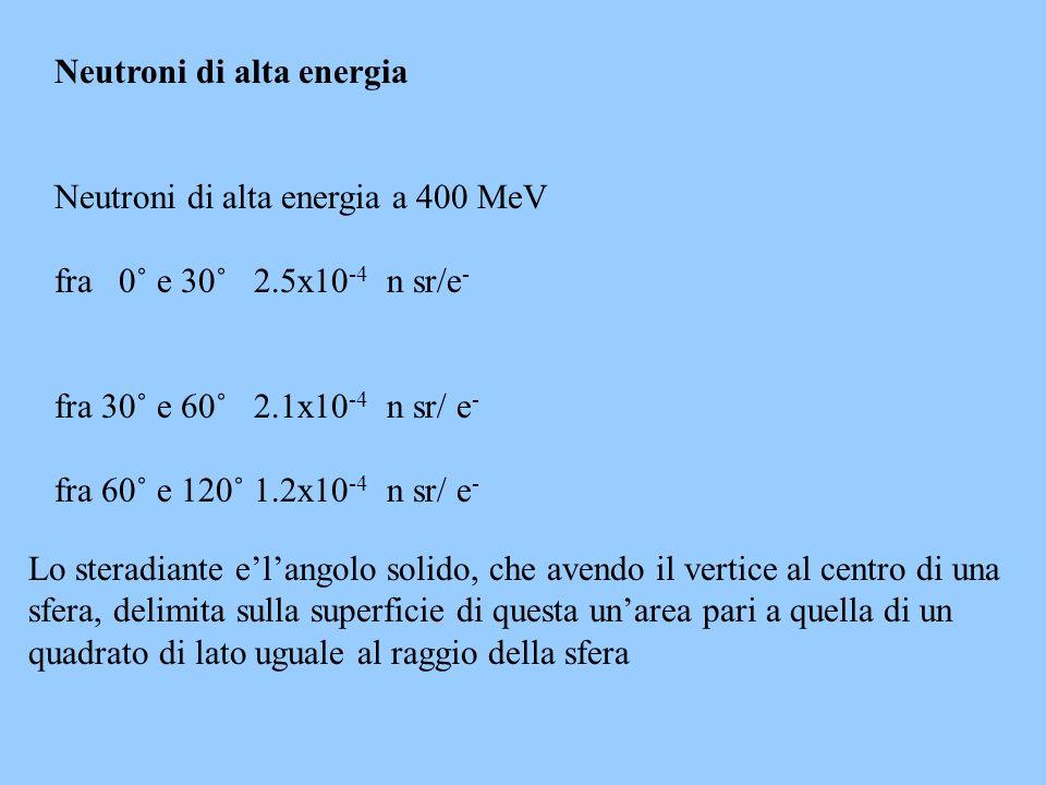 Neutroni di alta energia Neutroni di alta energia a 400 MeV fra 0˚ e 30˚ 2.5x10 -4 n sr/e - fra 30˚ e 60˚ 2.1x10 -4 n sr/ e - fra 60˚ e 120˚ 1.2x10 -4 n sr/ e - Lo steradiante elangolo solido, che avendo il vertice al centro di una sfera, delimita sulla superficie di questa unarea pari a quella di un quadrato di lato uguale al raggio della sfera