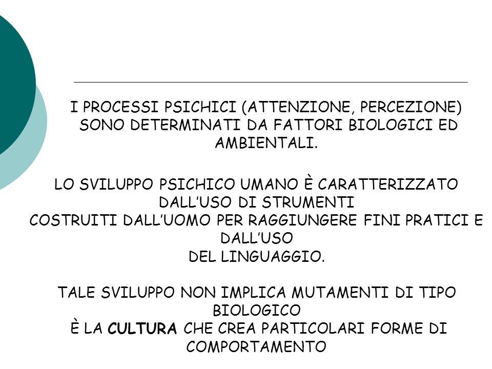 I PROCESSI PSICHICI (ATTENZIONE, PERCEZIONE) SONO DETERMINATI DA FATTORI BIOLOGICI ED AMBIENTALI.