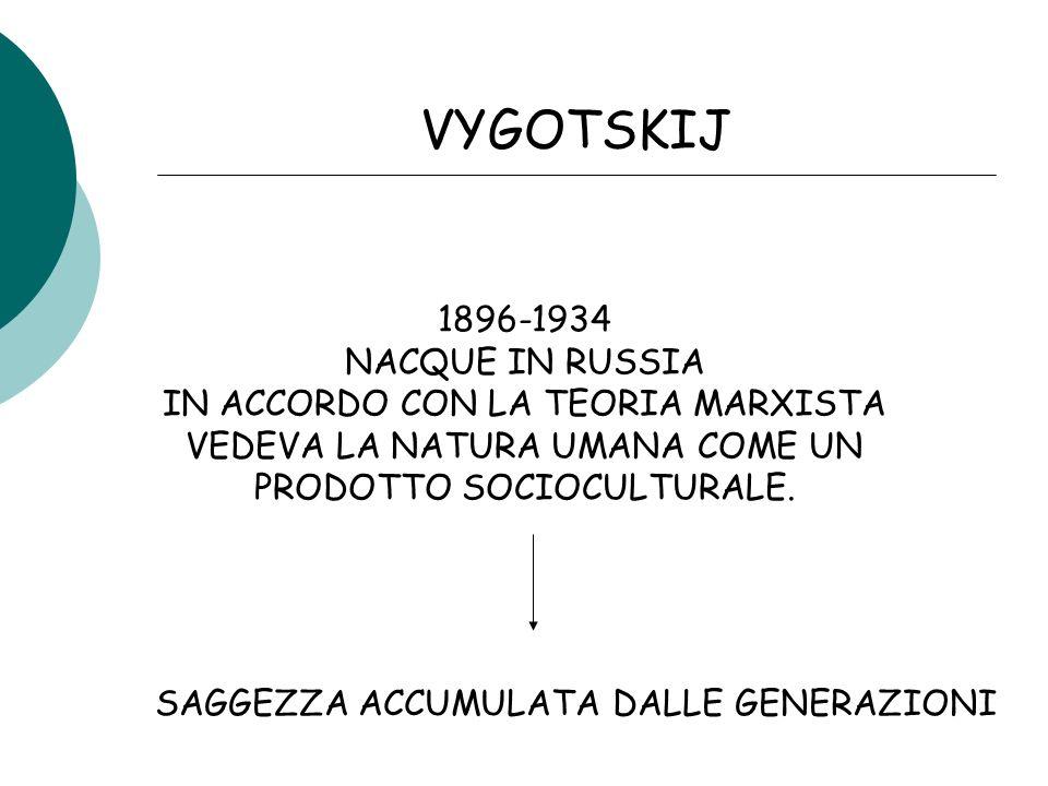 VYGOTSKIJ 1896-1934 NACQUE IN RUSSIA IN ACCORDO CON LA TEORIA MARXISTA VEDEVA LA NATURA UMANA COME UN PRODOTTO SOCIOCULTURALE.