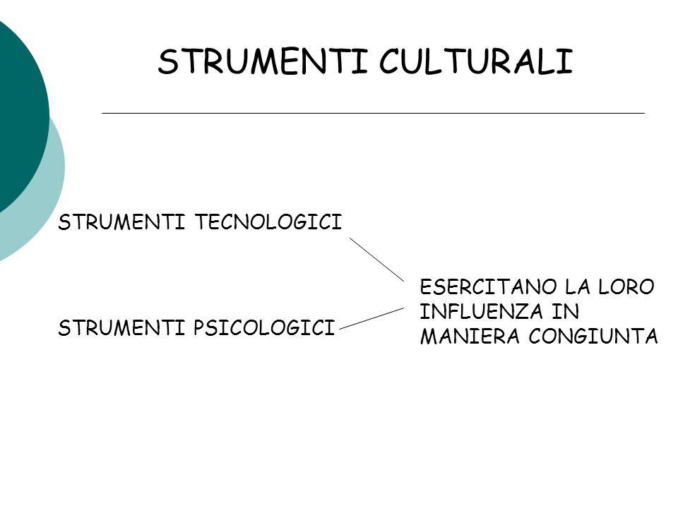 STRUMENTI CULTURALI STRUMENTI TECNOLOGICI STRUMENTI PSICOLOGICI ESERCITANO LA LORO INFLUENZA IN MANIERA CONGIUNTA