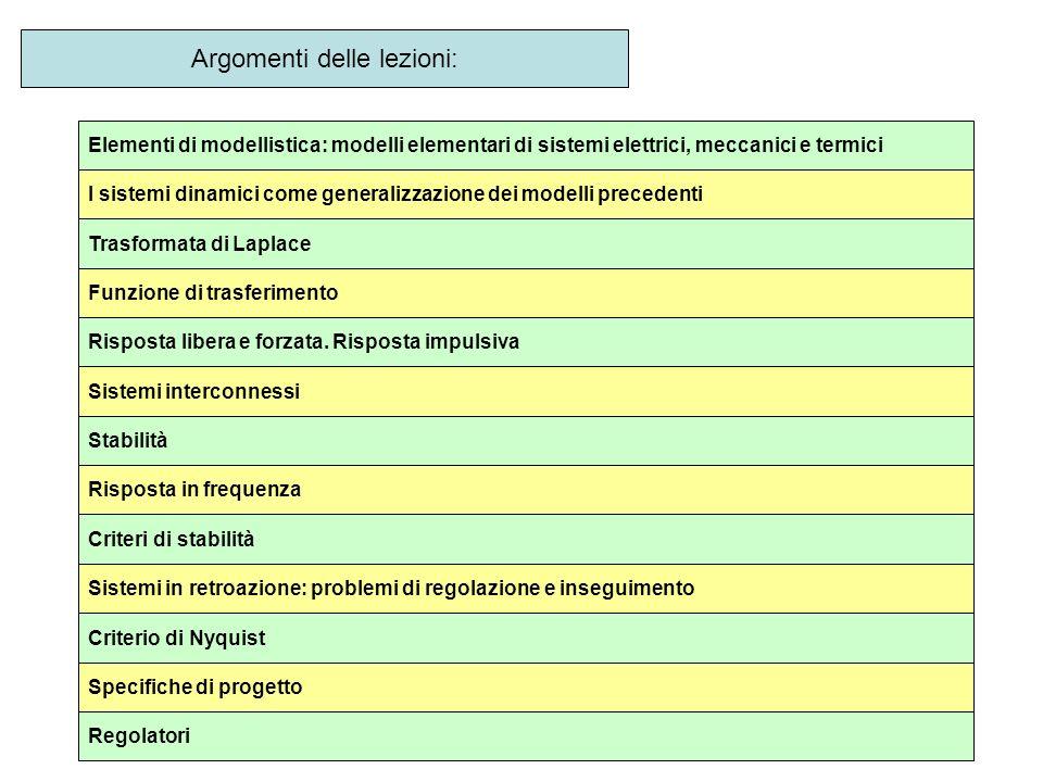 Argomenti delle lezioni: Elementi di modellistica: modelli elementari di sistemi elettrici, meccanici e termici I sistemi dinamici come generalizzazio