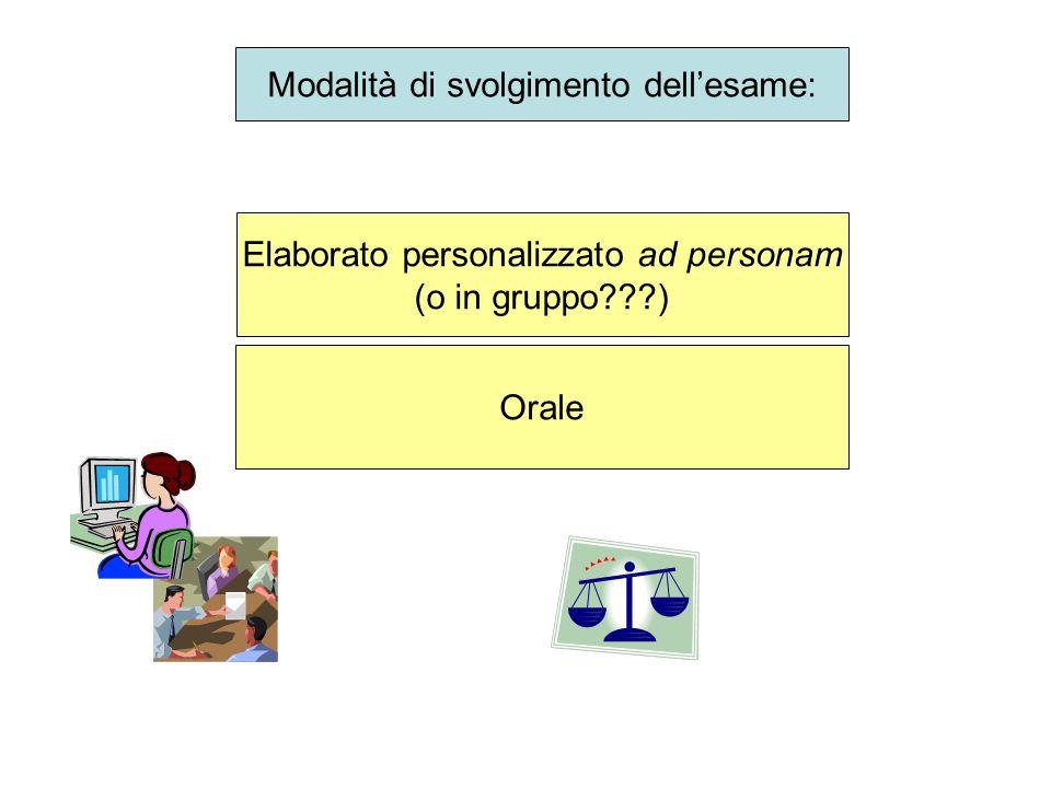 Modalità di svolgimento dellesame: Elaborato personalizzato ad personam (o in gruppo???) Orale