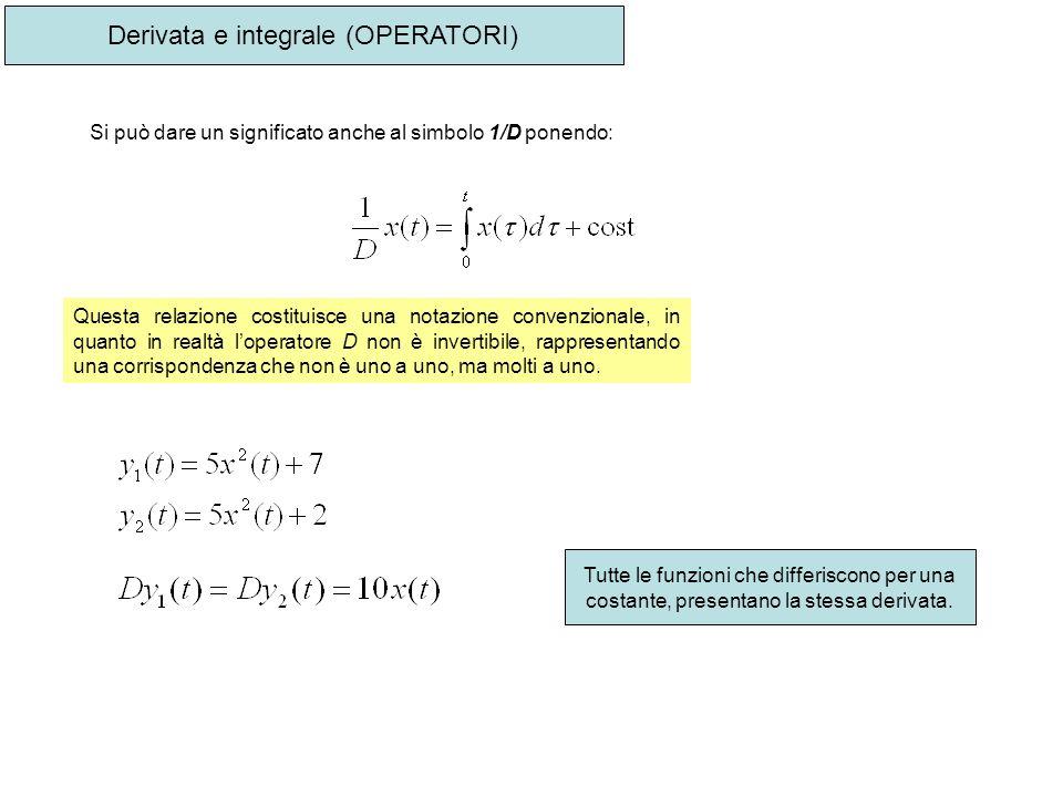 Derivata e integrale (OPERATORI) Si può dare un significato anche al simbolo 1/D ponendo: Questa relazione costituisce una notazione convenzionale, in
