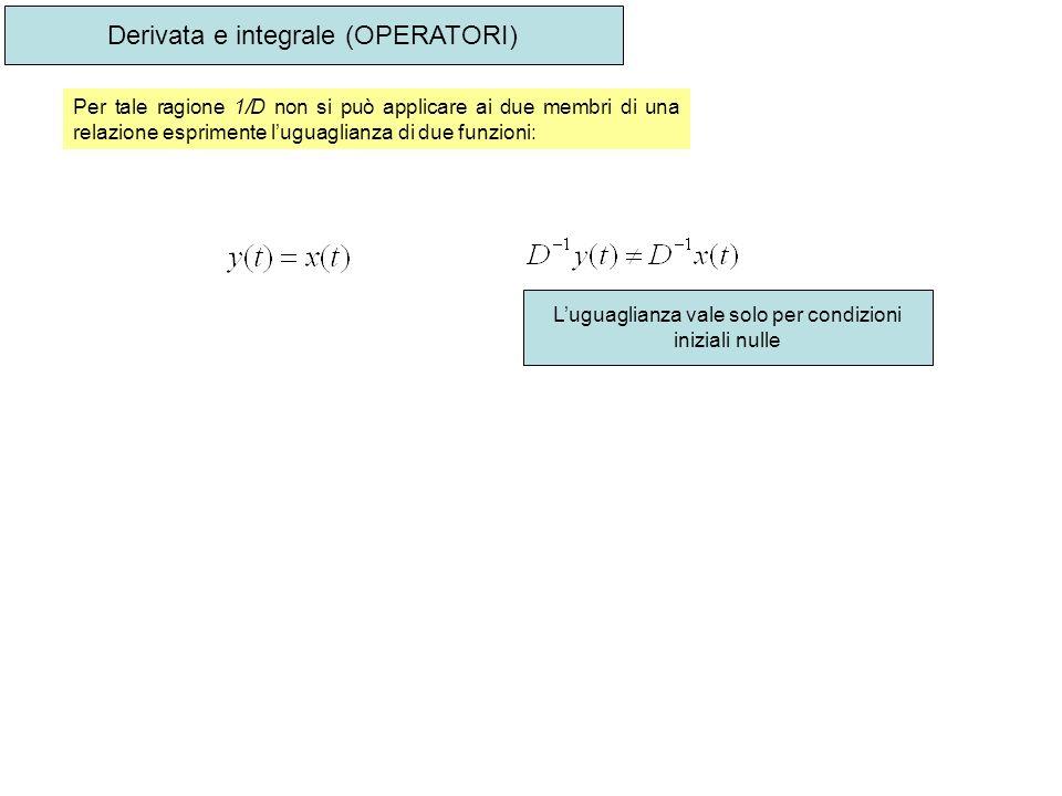 Derivata e integrale (OPERATORI) Per tale ragione 1/D non si può applicare ai due membri di una relazione esprimente luguaglianza di due funzioni: Lug