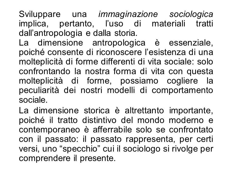 Sviluppare una immaginazione sociologica implica, pertanto, luso di materiali tratti dallantropologia e dalla storia. La dimensione antropologica è es
