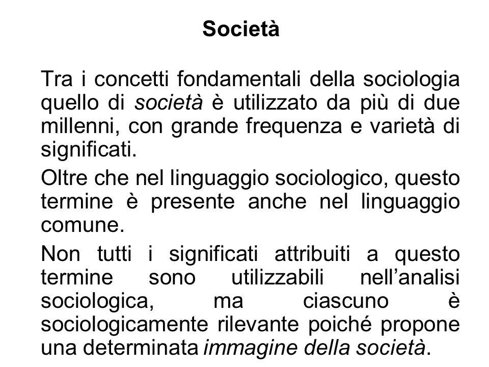 Società Tra i concetti fondamentali della sociologia quello di società è utilizzato da più di due millenni, con grande frequenza e varietà di signific