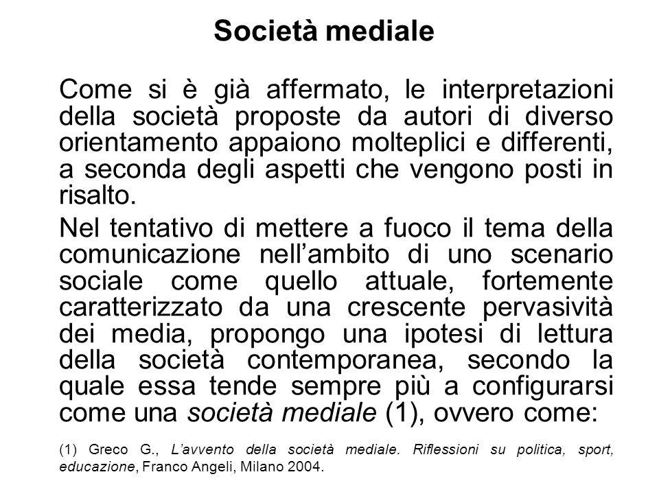 Società mediale Come si è già affermato, le interpretazioni della società proposte da autori di diverso orientamento appaiono molteplici e differenti,