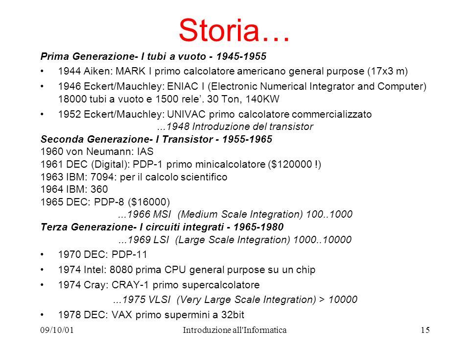 09/10/01Introduzione all'Informatica15 Storia… Prima Generazione- I tubi a vuoto - 1945-1955 1944 Aiken: MARK I primo calcolatore americano general pu
