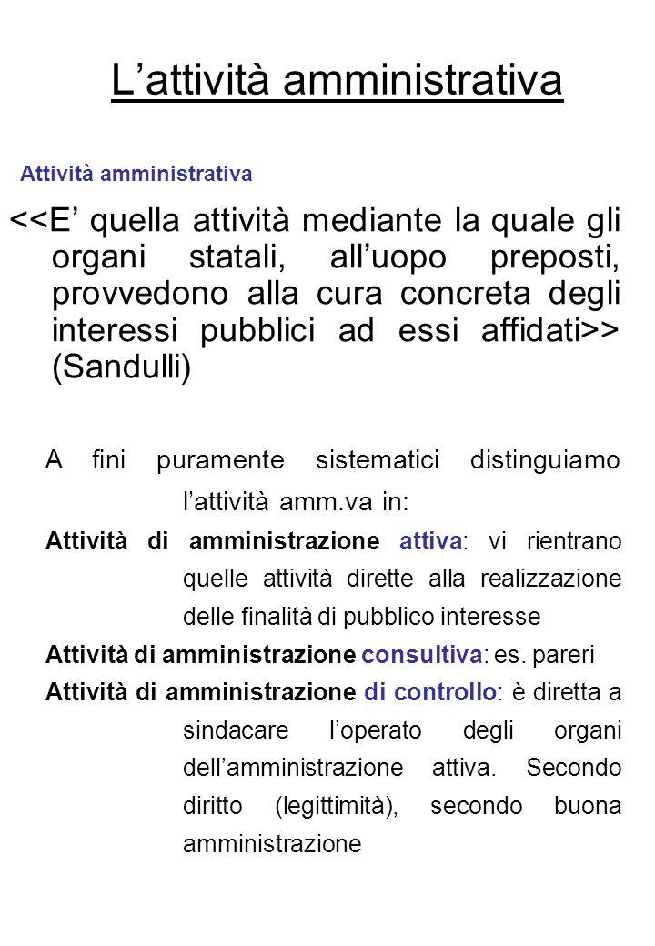 Lattività amministrativa > (Sandulli) Attività amministrativa A fini puramente sistematici distinguiamo lattività amm.va in: Attività di amministrazio