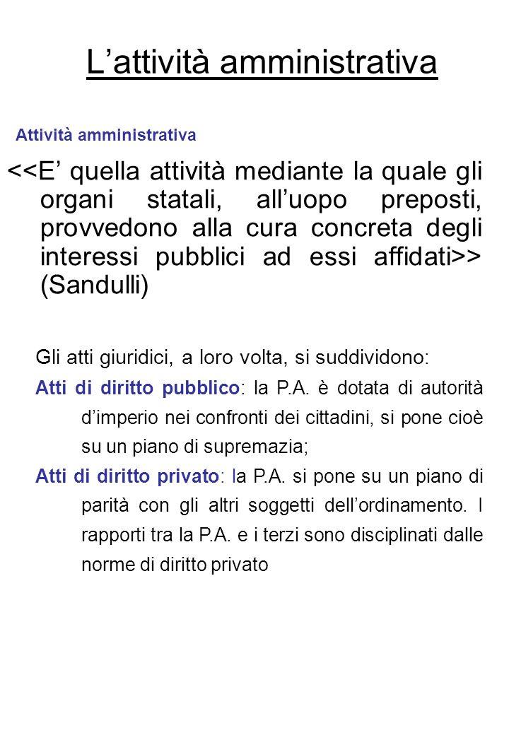 Lattività amministrativa > (Sandulli) Attività amministrativa Gli atti giuridici, a loro volta, si suddividono : Atti di diritto pubblico: la P.A. è d