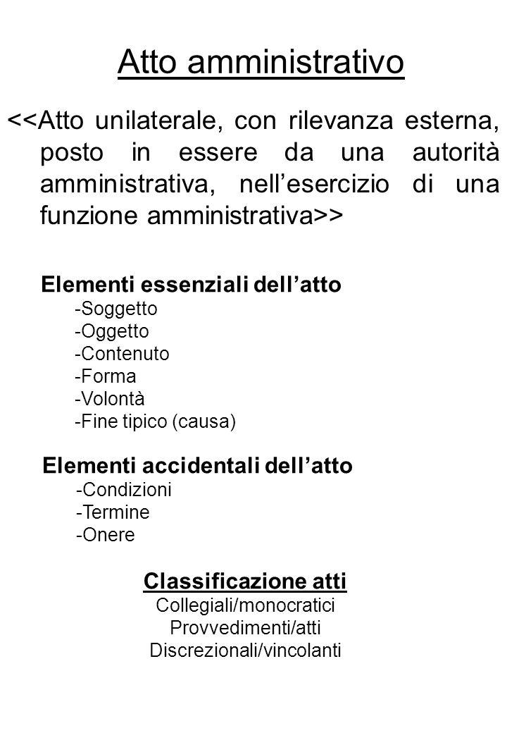 Atto amministrativo > Elementi essenziali dellatto -Soggetto -Oggetto -Contenuto -Forma -Volontà -Fine tipico (causa) Elementi accidentali dellatto -C