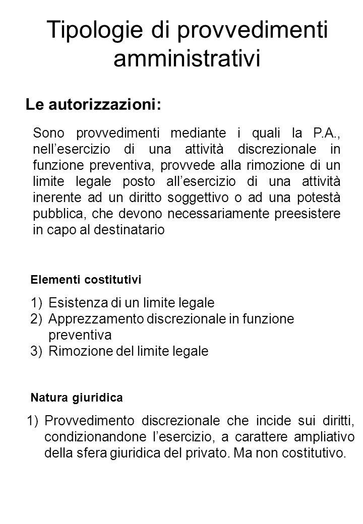 Tipologie di provvedimenti amministrativi Le autorizzazioni: Sono provvedimenti mediante i quali la P.A., nellesercizio di una attività discrezionale