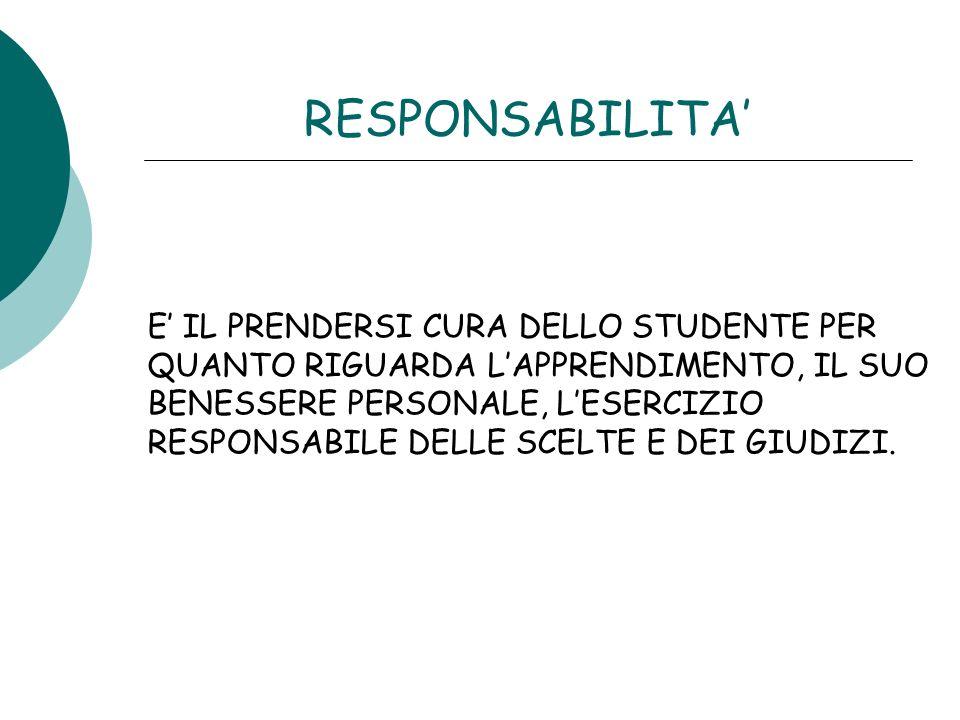 RESPONSABILITA E IL PRENDERSI CURA DELLO STUDENTE PER QUANTO RIGUARDA LAPPRENDIMENTO, IL SUO BENESSERE PERSONALE, LESERCIZIO RESPONSABILE DELLE SCELTE