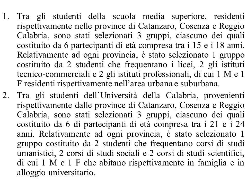 1.Tra gli studenti della scuola media superiore, residenti rispettivamente nelle province di Catanzaro, Cosenza e Reggio Calabria, sono stati selezion