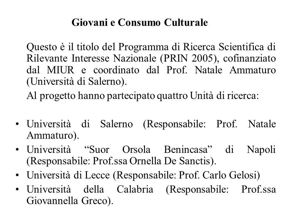Giovani e Consumo Culturale Questo è il titolo del Programma di Ricerca Scientifica di Rilevante Interesse Nazionale (PRIN 2005), cofinanziato dal MIU