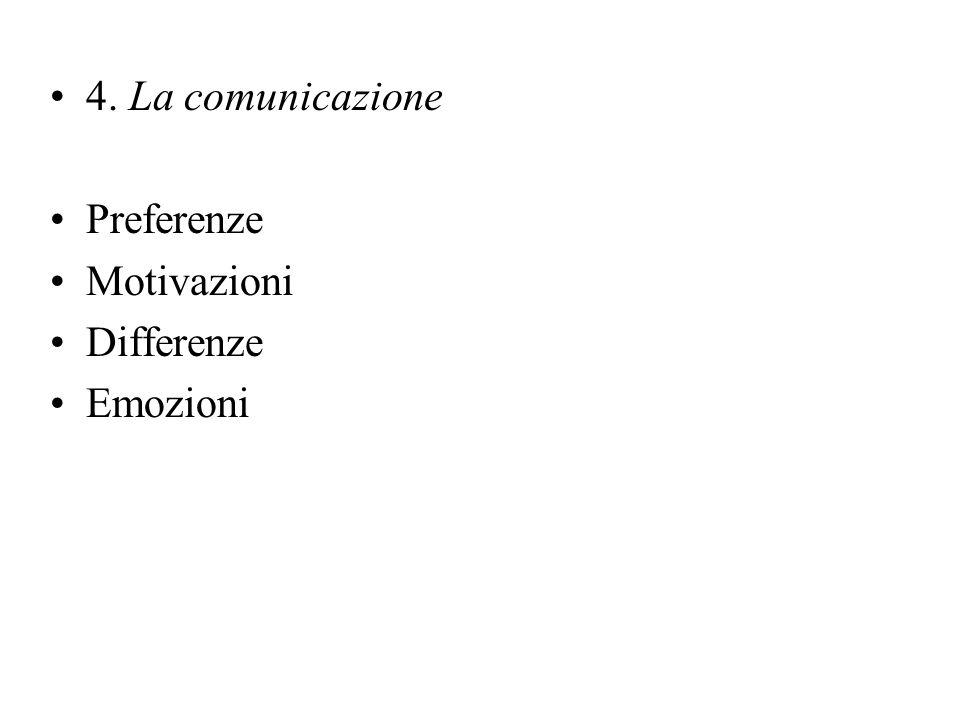 4. La comunicazione Preferenze Motivazioni Differenze Emozioni