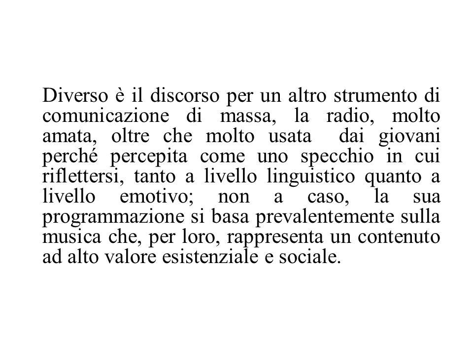 Diverso è il discorso per un altro strumento di comunicazione di massa, la radio, molto amata, oltre che molto usata dai giovani perché percepita come