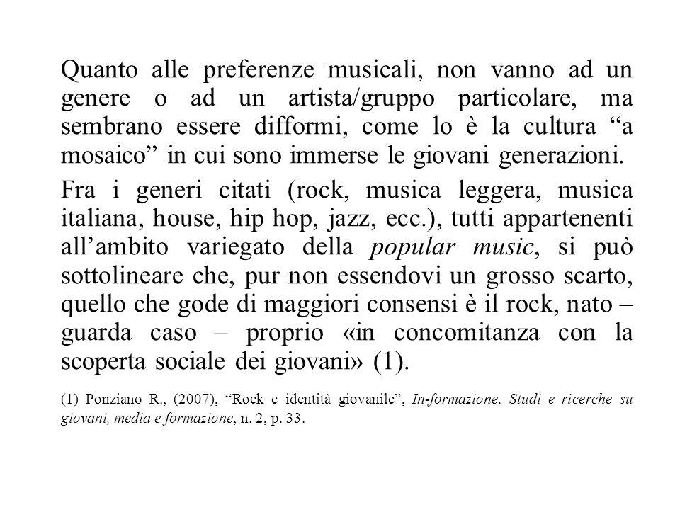 Quanto alle preferenze musicali, non vanno ad un genere o ad un artista/gruppo particolare, ma sembrano essere difformi, come lo è la cultura a mosaic