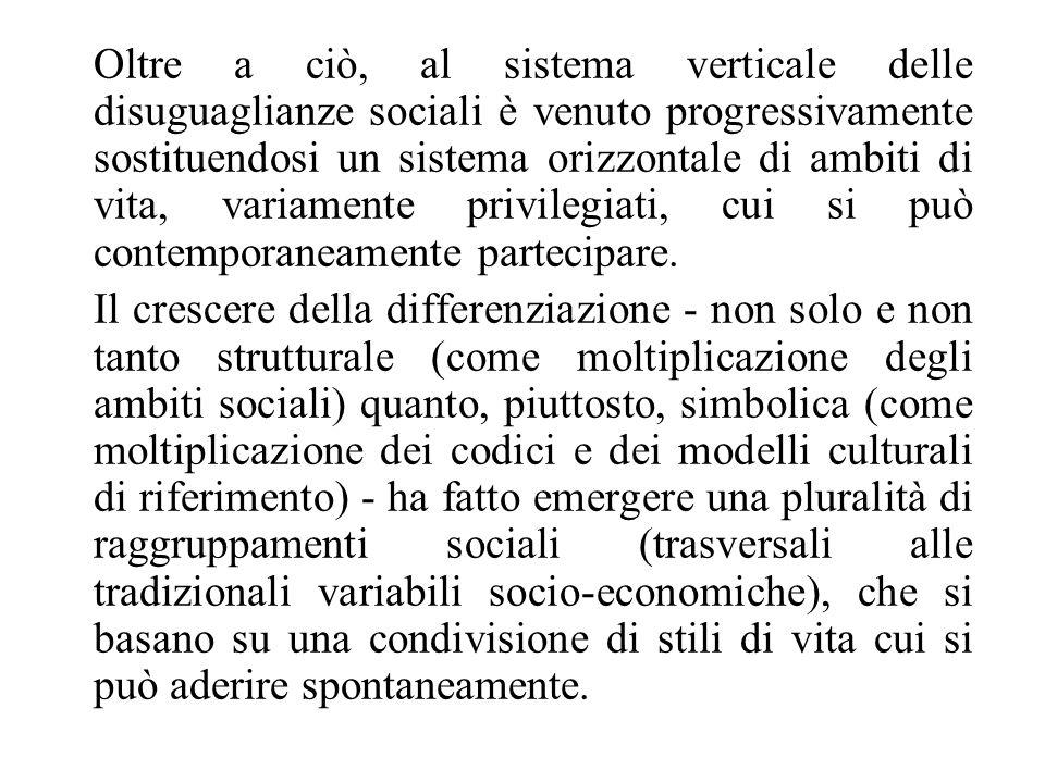 Oltre a ciò, al sistema verticale delle disuguaglianze sociali è venuto progressivamente sostituendosi un sistema orizzontale di ambiti di vita, varia