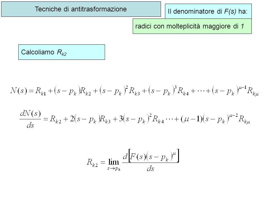 Tecniche di antitrasformazione Il denominatore di F(s) ha: radici con molteplicità maggiore di 1 Calcoliamo R k2